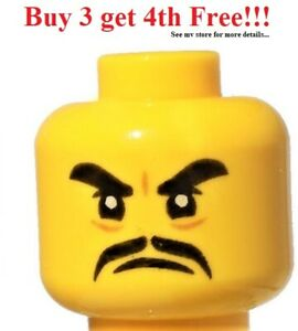 ☀️NEW Lego Minifigure Head Black Thick Eyebrows and Moustache, Angry Expression