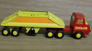 Vintage Tonka 18 Pressed Steel Bottom Dump Sand Hauler Semi Truck,Red & Yellow