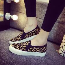 Womens Causal Slip On Leopard Printed Loafers Platform Sneakers Shoes