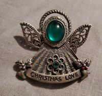 KC Kenneth Cole Angel Brooch Pin Christmas Love Pewter Green Stones