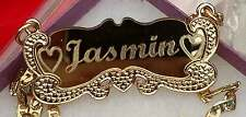 Personalized 18K Gold plated Name plate Any Color Background free chain New York