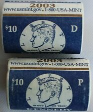 2003 P and D Mints Kennedy TWO UNC Half Dollar Mint Wrapped Rolls 50c US Coins