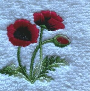 Embroidered personalised POPPY flannel/cloth  £ 4.95 inc P&P