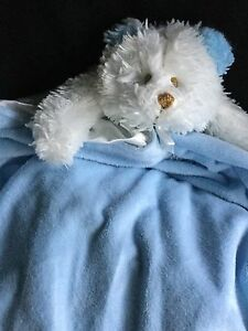"""Blankets And Beyond Blue White 24"""" Square Sleeping Bear Security Blanket"""