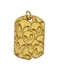 Alien Family Charm pendant 10K Yellow Gold Jewelry UFO Dog Tag Martian Jewelry