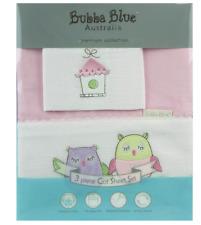 NEW BUBBA BLUE 3 PC COT SHEET SET PINK OWL 100% COTTON SOFT COMFY BEDDING SETS