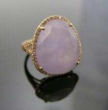 Brand New 14k Rose Gold Ring With Natural Lavender/Pink Jade Stone And Diamonds