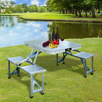 Aluminum Folding Portable Camping Picnic Table Stool Chair Set W/ Umbrella hole