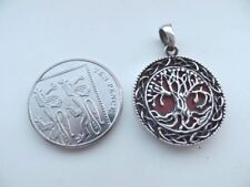 Sterling Silver and Coral Tree of Life Reverseable Antique Finish Pendant