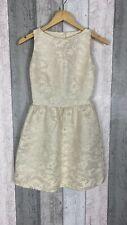 Alice + Olivia Cream Metallic Stitch Open Back Flared Mini Dress Size 0 UK 4/6