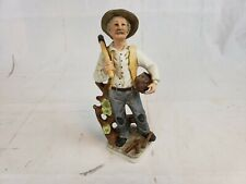 Flambro Porcelain Figurine Old Man With Axe Carrying Wood Pt2