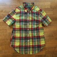 Ralph Lauren Boy S 8 Yellow Plaid Dress Shirt Short Sleeve Collar Polo Pony Logo