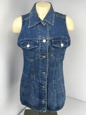 Vtg 90s GUESS Jeans Denim Button Pocket Darted Vest Size MEDIUM USA MADE