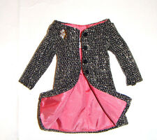 Barbie Doll Sized Fashion Black And White 'Tweed' Coat/Jacket For Barbie s1