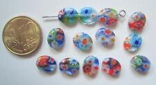 Perlas ovales cristal milflores 10 x 8 mm X 13 UNIDADES gama colores abalorios