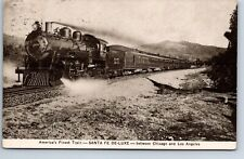 Santa Fe De-Luxe postcard Americas Finest Train Chicago & Los Angeles 1912