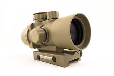 Monstrum Tactical FDE S330P 3x Ultra-Compact Prism Scope, Rifle Scope, Tan