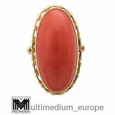 Großer 750er Gold Ring Koralle large oval coral 18k 30er 50er Jahre 🌺🌺🌺🌺🌺