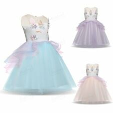 Flowers Kids Girls Unicorn Bridesmaid Pageant Party Formal Tulle Tutu Vest Dress