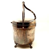 Vintage Silverplate Silver Plate Ice Bucket w/ Attached Lid & Ceramic Liner