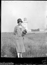 Portrait femme avec chapeau phare - négatif photo verre an. 20 negative glass