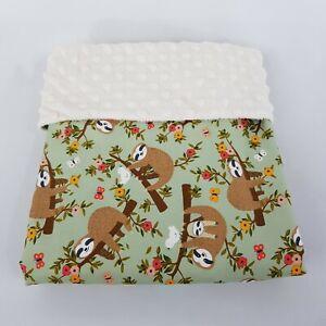 Handmade Baby Bassinet Pram Crib Blanket Green Sloth Woodland Print Cotton Minky