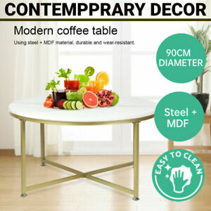 Round Coffee Table Side End Tables Bedside Marble Effect Black Metal 90cm NEW