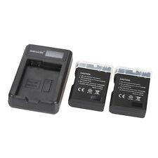 LED Power Charger + 2pcs 1200mAh EN-EL14 Li-ion Batteries for Nikon Cameras