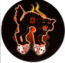BAD LUCK BLACK CAT LUCKY 13 HOT ROD RAT ROD LOW BROW ART GLOSSY DECAL STICKER