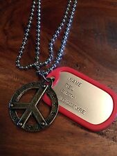Army Military gold old fashioned hippie peace  Alloy Dog Tag Pendant Necklace