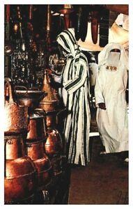 MOROCCO Copper of Moroccan Craftsmanship Market Shoppers Wearing Djellabas A21n