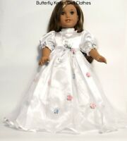 "White Satin Lace Rosette & Pearls Dress 18"" Doll Clothes Fit American Girl"