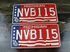 1976 Michigan License Plates Matching Pair Red White and Blue!