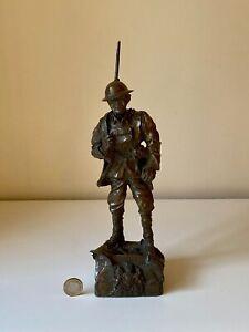 WW1 VINTAGE CAST BRONZE BRITISH SOLDIER FIGURINE TOMMY