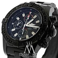 Black PVD Breitling Super Avenger A13370 Watch 4.00ct black Diamond Bezel