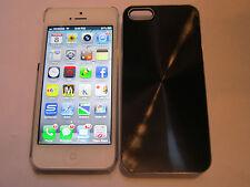 Black iPhone SE 5S 5G 5 SPIRAL Aluminum Metal Back Designer Case & Clear Side