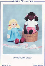 2 RAG DOLLS WITH CLOTHES Hannah & Grace TOY KNITTING PATTERN By Sandra Polley