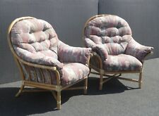 Pair of Vintage McGuire Bamboo Rattan Accent Lounge Chairs w Floral Cushions