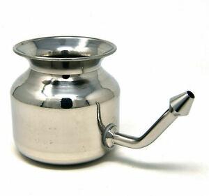 Stainless Steel Jal Neti Pot/ Ayurvedic nasal sinus congestion/ hygienic pot AUS