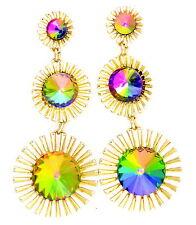 Chic fashion crystal sunflower drop chandelier earrings