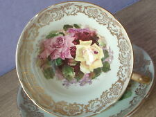 Vintage Mid Century Stanley English yellow pink roses green china tea cup teacup