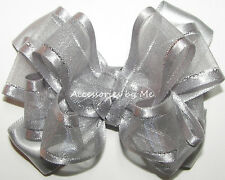 Silver Hair Bow Organza Satin Lame Baby Girls Fancy Pageant Party Alligator Clip