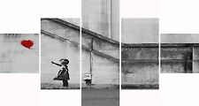Extra Large Five Piece Set Banksy Red Balloon Print Hope Graffiti Canvas Picture
