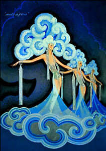 "Vintage French Poster Art CANVAS PRINT Folies Bergere 8""X10"""