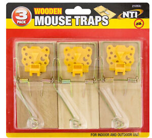 3, 6, 12 Traditional Wooden Mouse Traps Bait Mice Rodent Pest Control Trap
