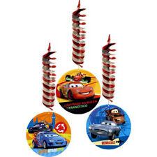 DISNEY PIXAR CARS HANGING SWIRL DECORATIONS (3) ~ Birthday Party Supplies Foil
