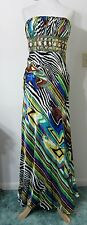 CACHE 2 Formal Gown PROM Pageant Dress Evening Beaded Zebra Colorful Print NWT