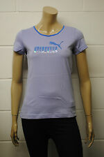 Womens Puma Sample T-Shirt Top Lilac Hologram Puma Cat Print Size 10 Ladies A42