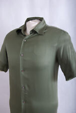 L152/60 Brandini Pure Silk Green Short Sleeve Casual Shirt ,size S (36-37 in)