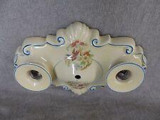 Vtg Ceramic Porcelain Flush Mount Ceiling Light Fixture Floral Birds Old 2231-16